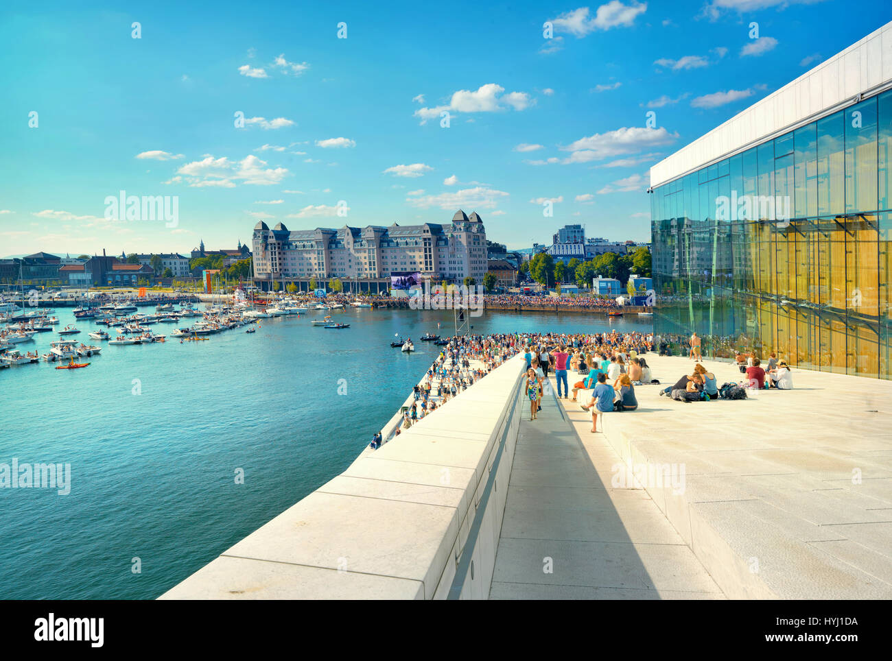 View of waterfront and  harbour with yachts and boats - Stock Image