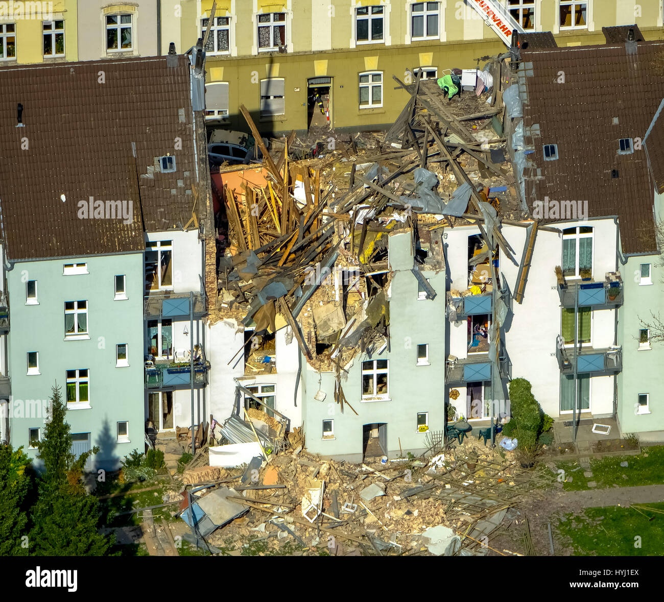 Explosion in a three-story apartment building, Teutonenstrasse, Dortmund, Ruhr district, North Rhine-Westphalia, - Stock Image