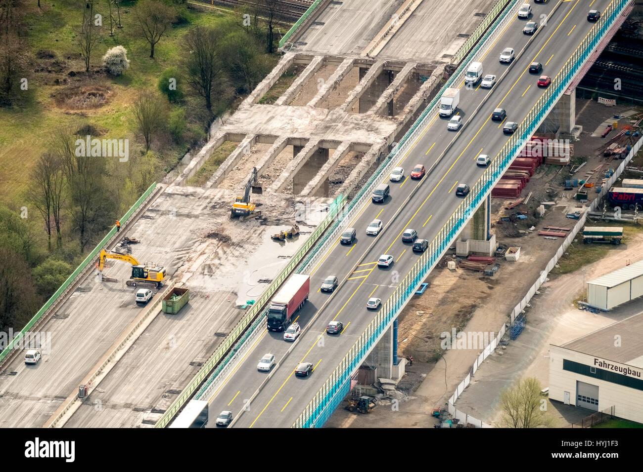 Lenne bridge, construction work, highway bridge over the Lenne near Hagen, A45, Ruhr district, North Rhine-Westphalia, - Stock Image