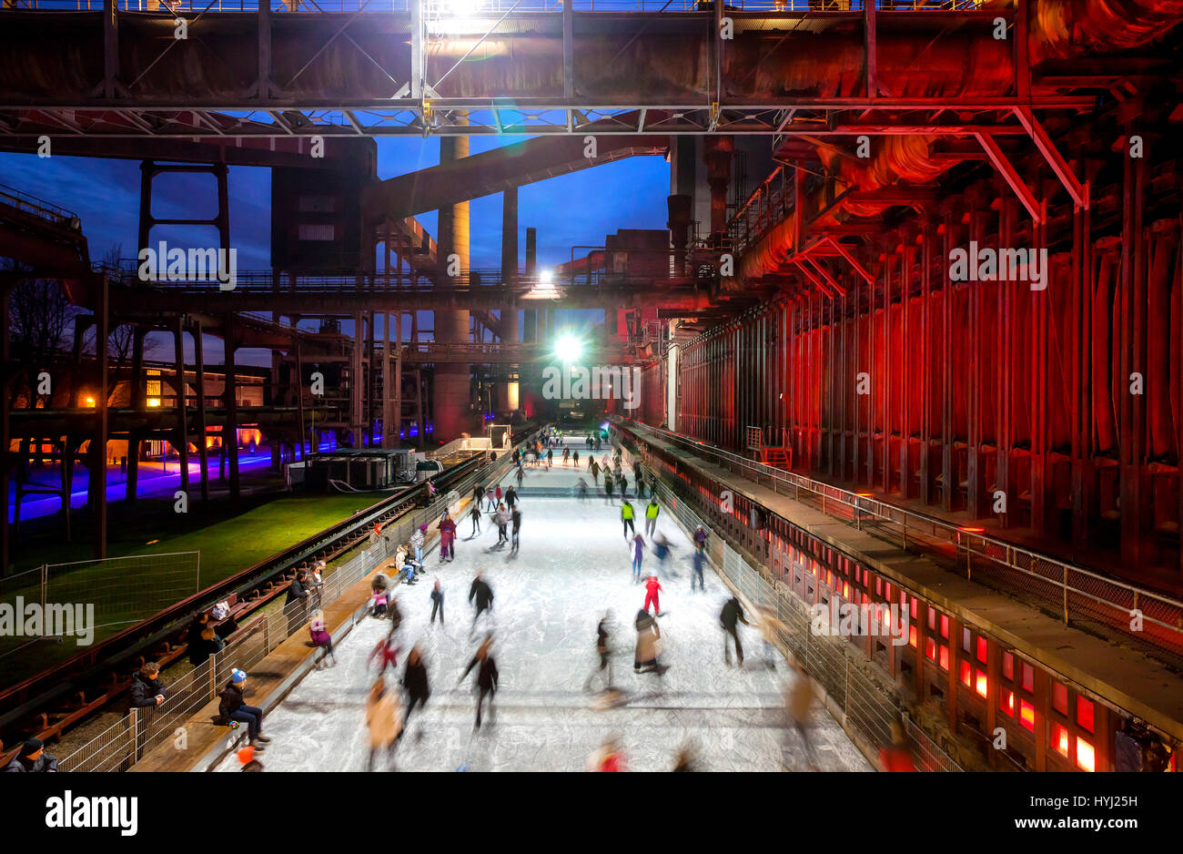 Ice rink, ice track Zeche Zollverein, Essen, North Rhine-Westphalia, Germany - Stock Image