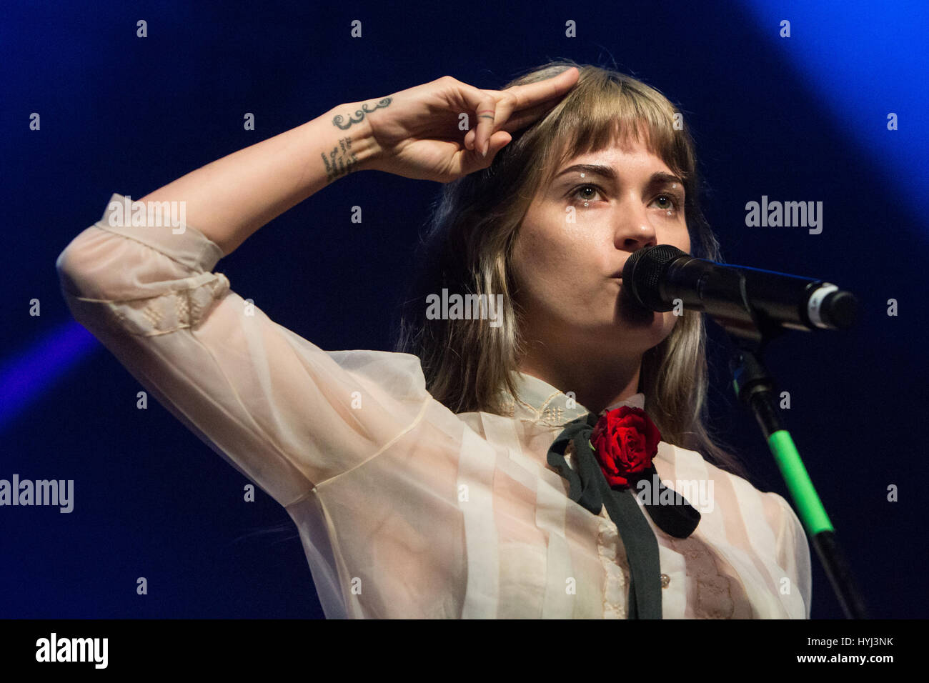 Milan, Italy. 03rd Apr, 2017. The American singer-songwriter and actress LAUREN RUTH WARD performs live on stage - Stock Image