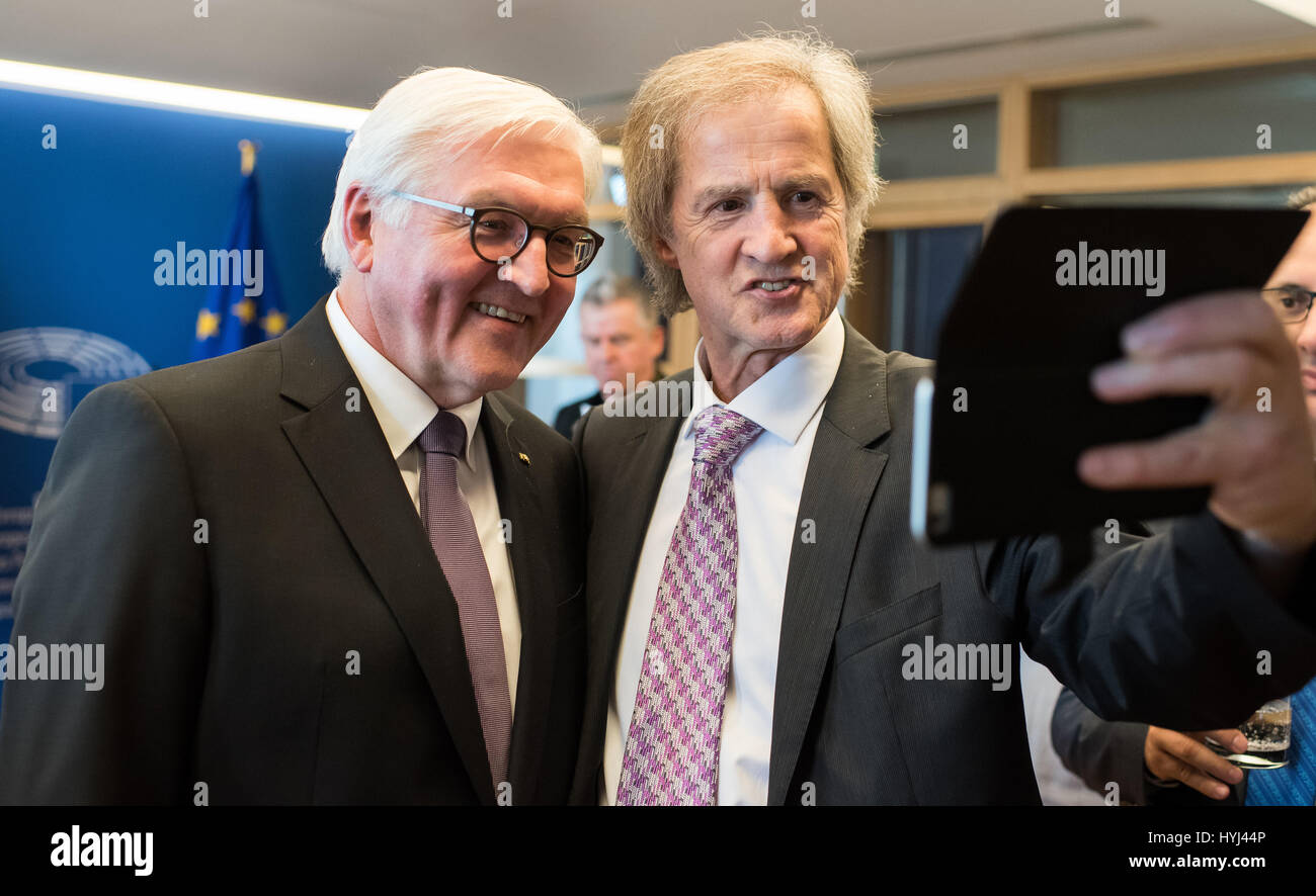 Strasbourg, France. 04th Apr, 2017. German President Frank-Walter Steinmeier (L) takes a selfie with Jo Leinen (R), member of the European Parliament (MEP) representing Germany's Social Democratic Party (SPD), at a reception for German EU MEPs at the European Parliament in Strasbourg, France, 04 April 2017. Steinmeier held a speech at the parliament prior to the reception. Photo: Bernd von Jutrczenka/dpa/Alamy Live News Stock Photo