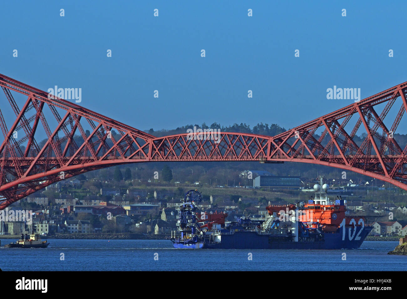 North Queensferry, Scotland, United Kingdom. 4th April, 2017. The ocean-going cable-laying ship North Ocean 102, - Stock Image
