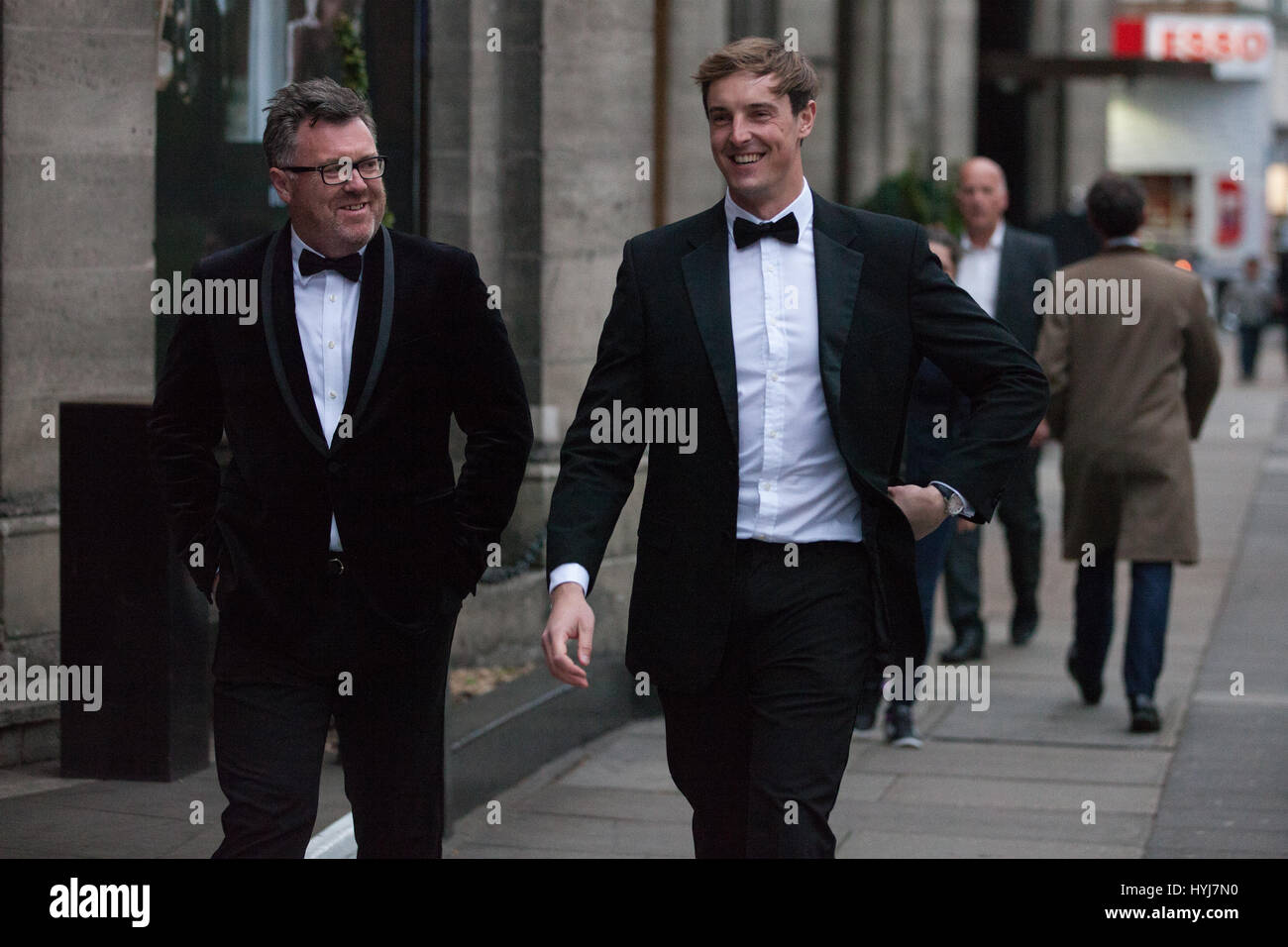 London, UK. 4th April, 2017. Guests arrive for the Property Developers' Awards, an expensive black tie event, - Stock Image