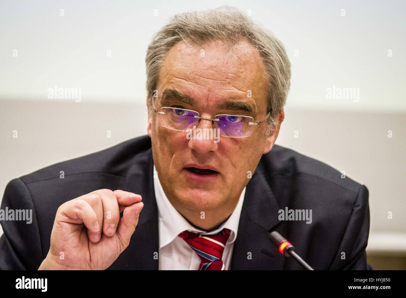 April 4, 2017 - Bavarian parliamentarian Florian Ritter (SPD) holds a conference on the ongoing NSU terror cell - Stock Image