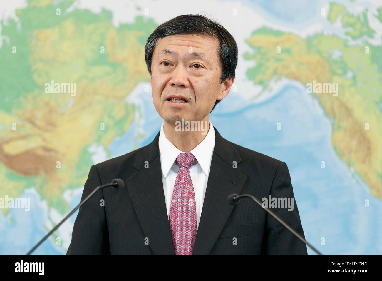 Tokyo, Japan. 5th Apr, 2017. Norio Maruyama, Foreign Press Secretary, speaks during a news conference at the Ministry - Stock Image
