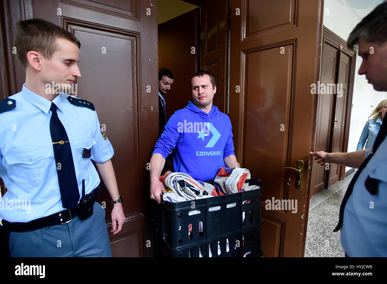 Prague, Czech Republic. 05th Apr, 2017. Court again deals with case of Ztohoven artistic group's members who - Stock Image