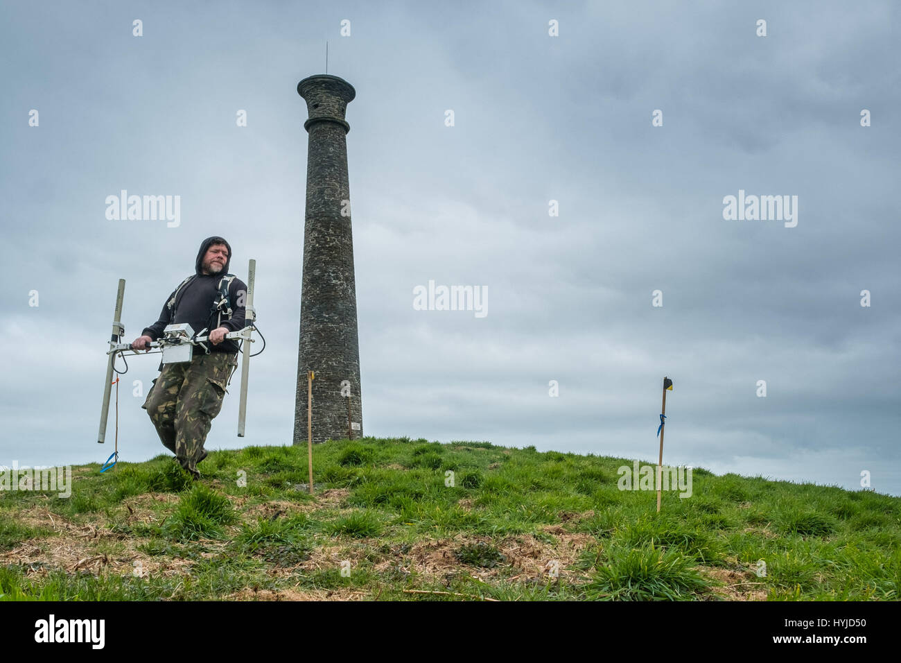 Aberystwyth Wales UK, Wednesday 05 April 2017   Archaeology in the UK : In the shadow of the distinctive shape of - Stock Image
