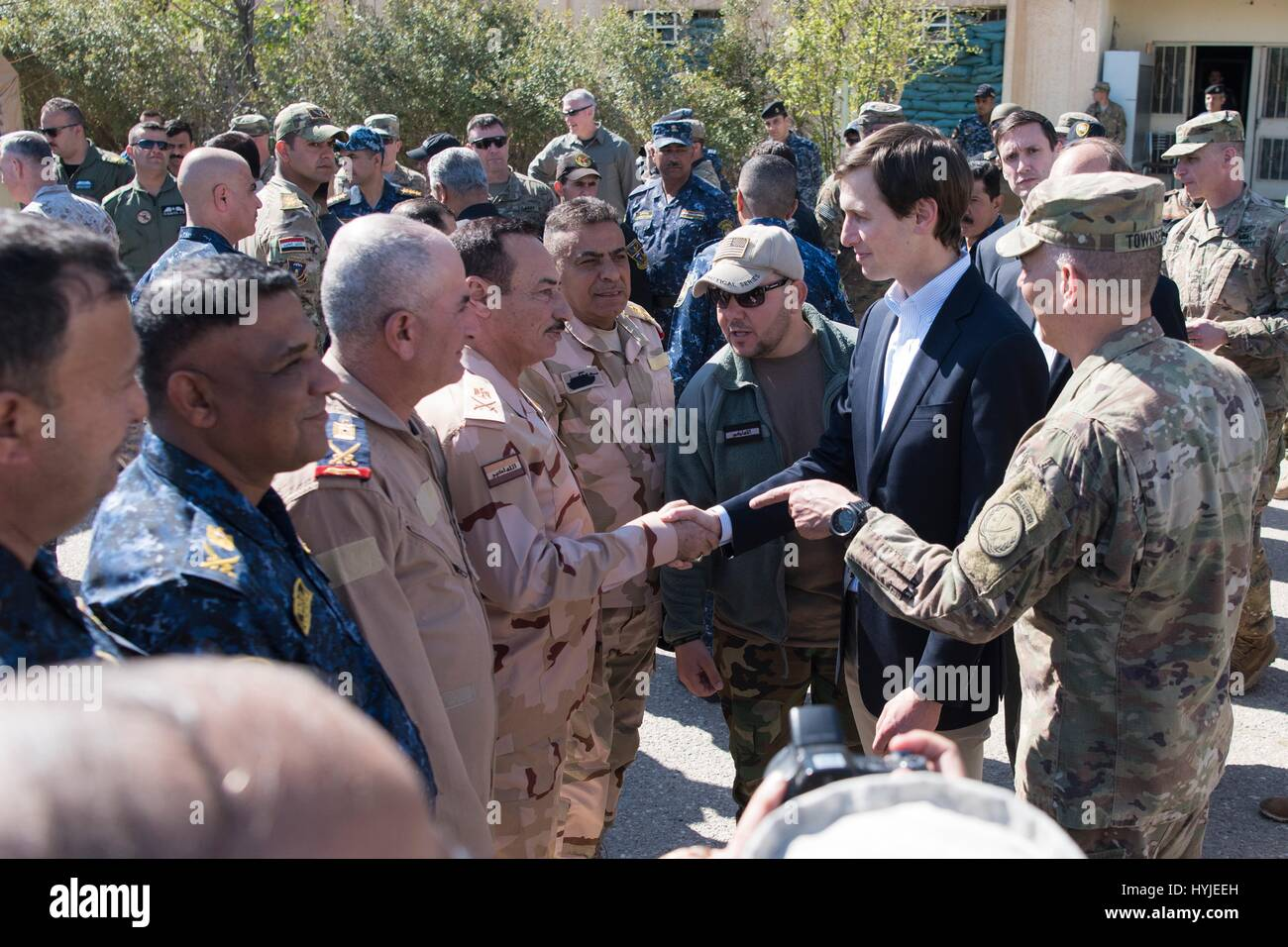 Qayyarah West, Iraq. 4th Apr, 2017. Jared Kushner, Senior Advisor and son-in-law to President Trump, center, and - Stock Image