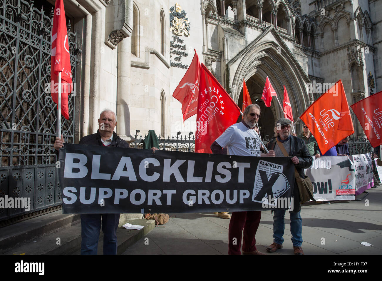 London, UK. 5th Apr, 2017. Representatives of several pressure groups, including the blacklist Support Group and Stock Photo