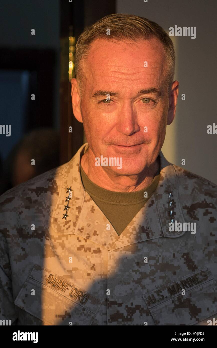 U.S. Joint Chiefs Chairman Gen. Joseph Dunford during a visit to a forward operating base April 4, 2017 in near - Stock Image