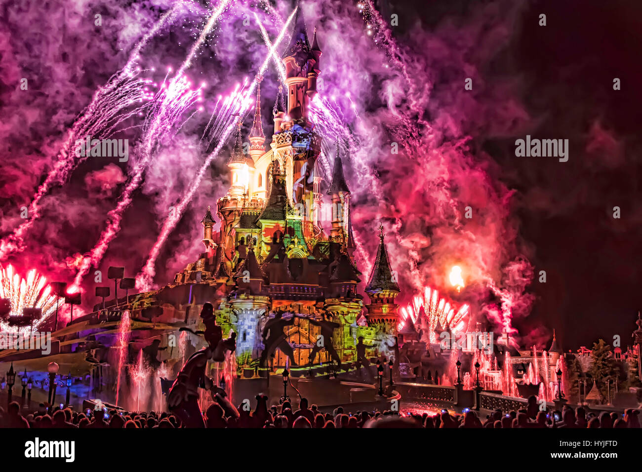 Marne-la-Vallée, France. 4th April, 2017. Disneyland Paris presents its new night show Disney Illuminations - Stock Image