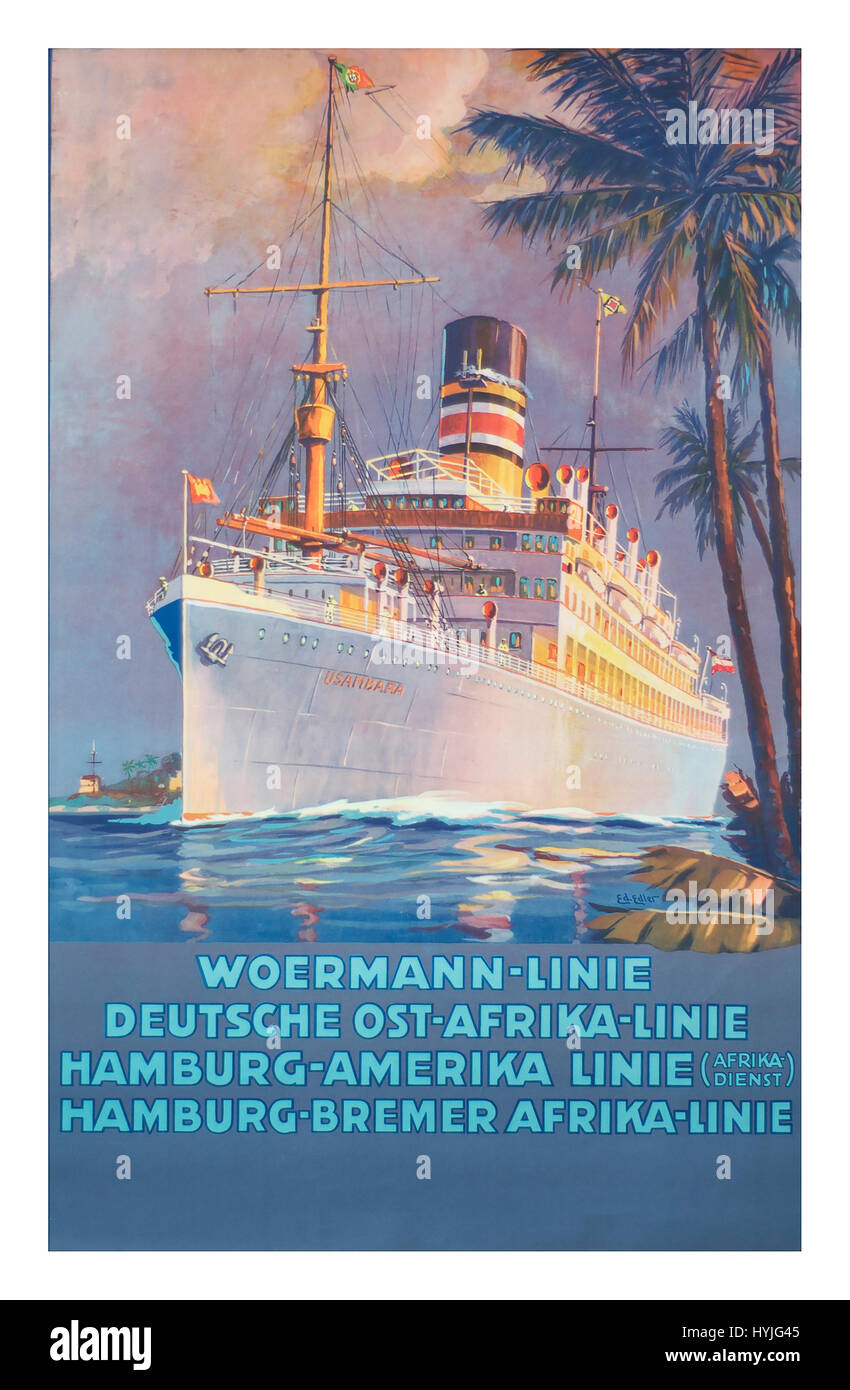 1920's Poster advertising the Woermann Line, with services from Germany to Africa and America. Vintage Cruise - Stock Image