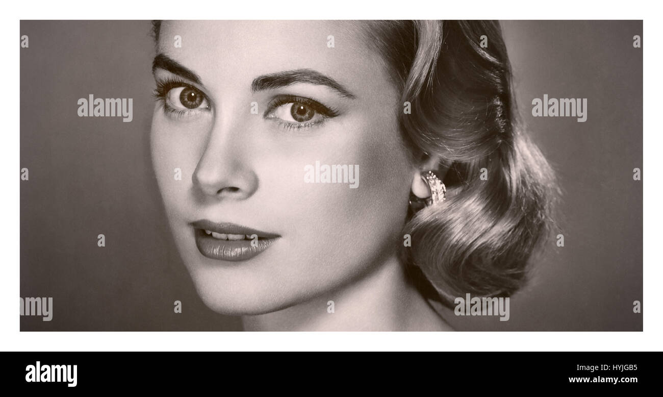 GRACE KELLY PORTRAIT 1950's A highly popular film actress in the 1950s, Grace Kelly starred in movies such as - Stock Image