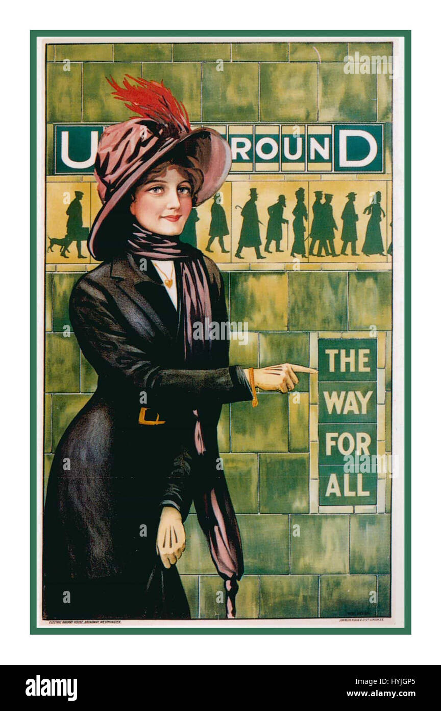 Vintage Historic retro Tube poster art – London Underground 'THE WAY FOR ALL' by ALFRED FRANCE, 1911 - Stock Image