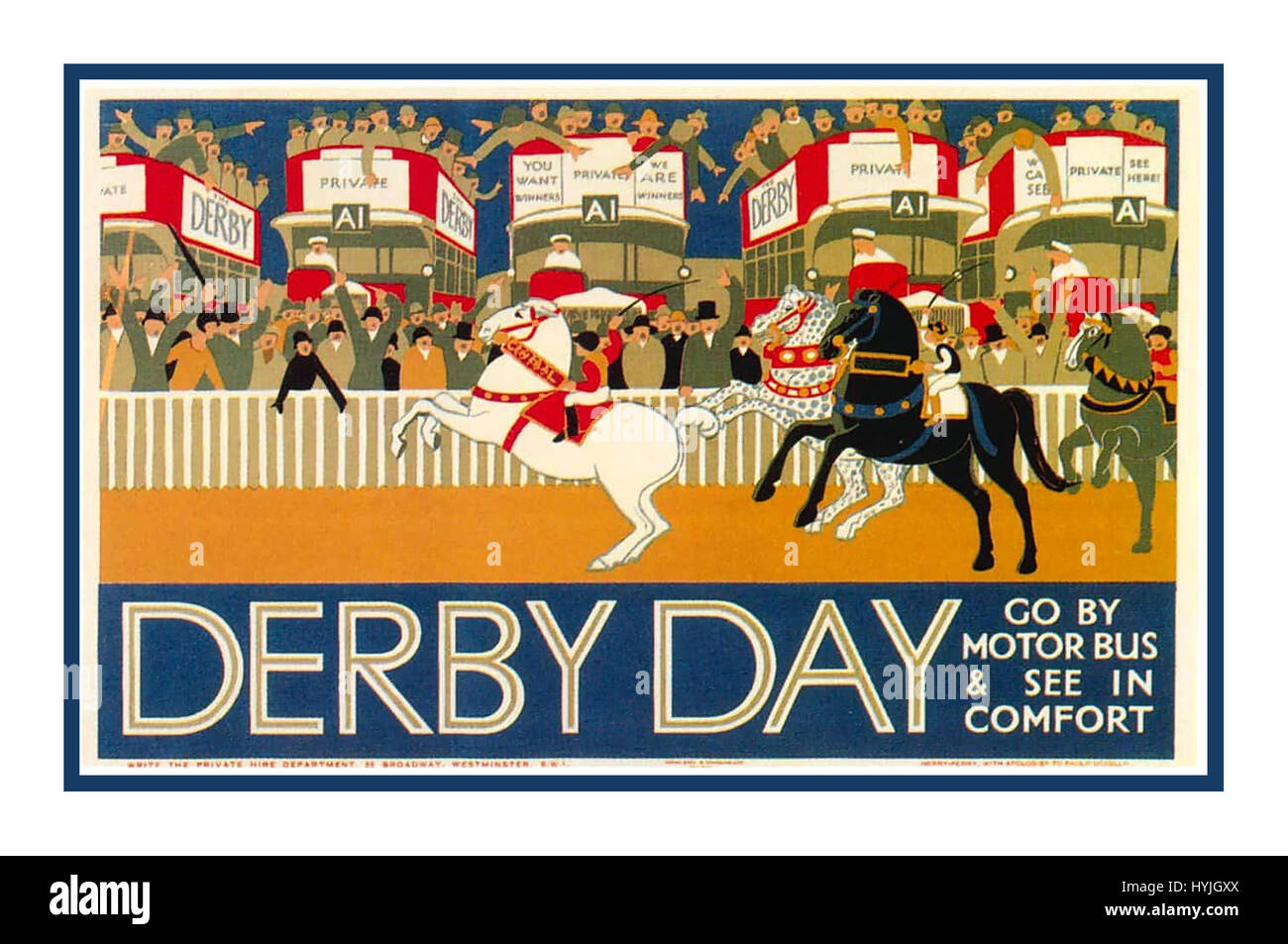 Vintage 1920's London underground poster designed by Herry Perry - Stock Image