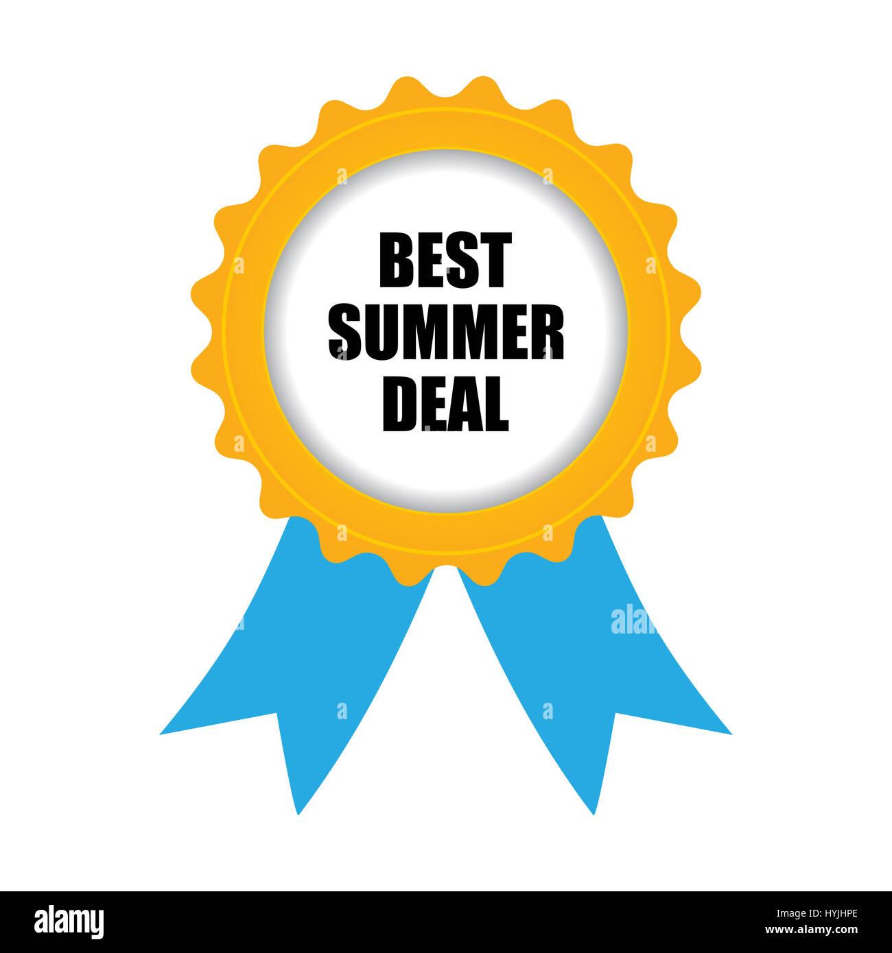 best summer deal badge, blue-yellow design - Stock Image