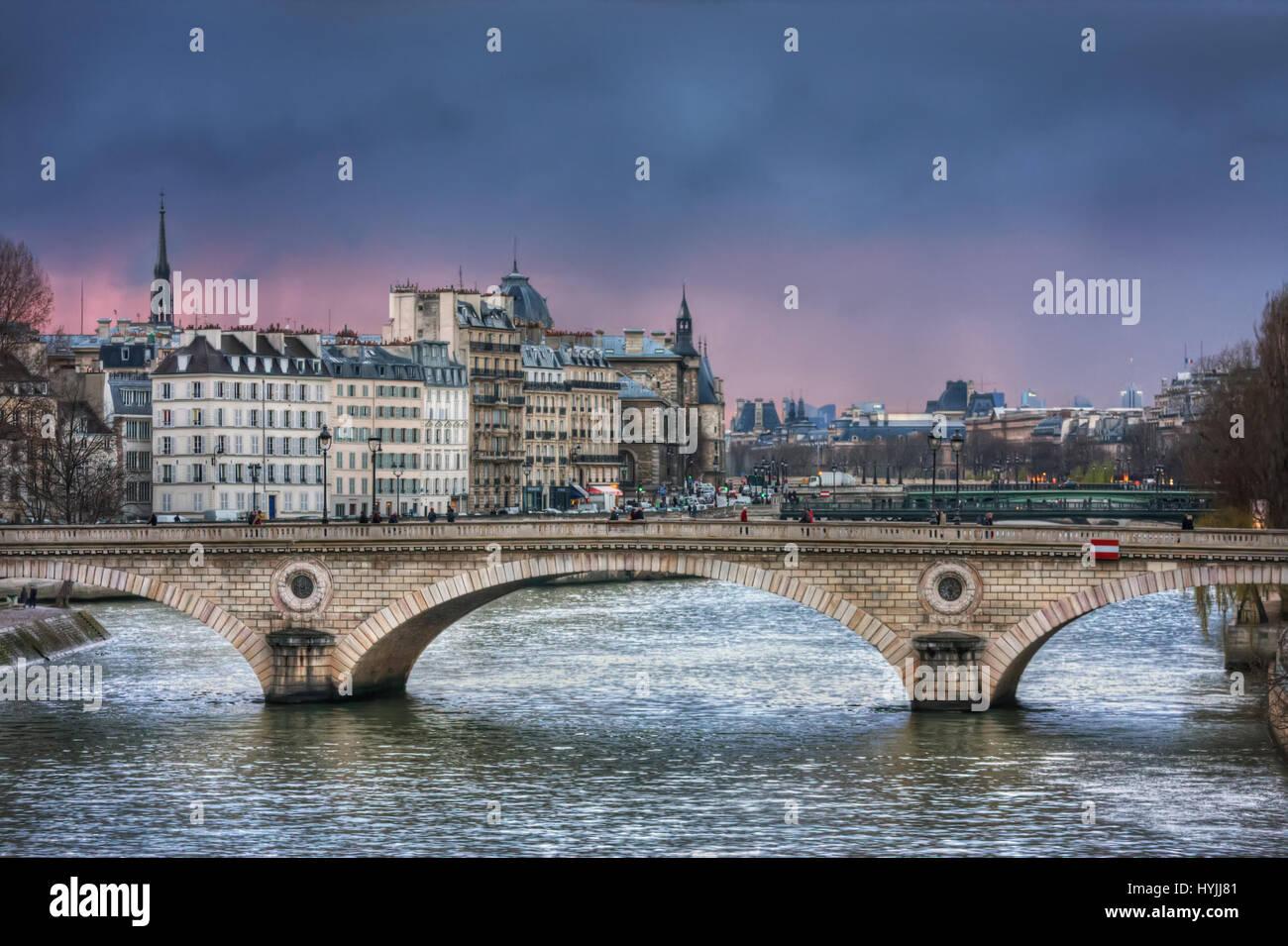 Bridge Louis-Philippe in twilight. France. Paris - Stock Image