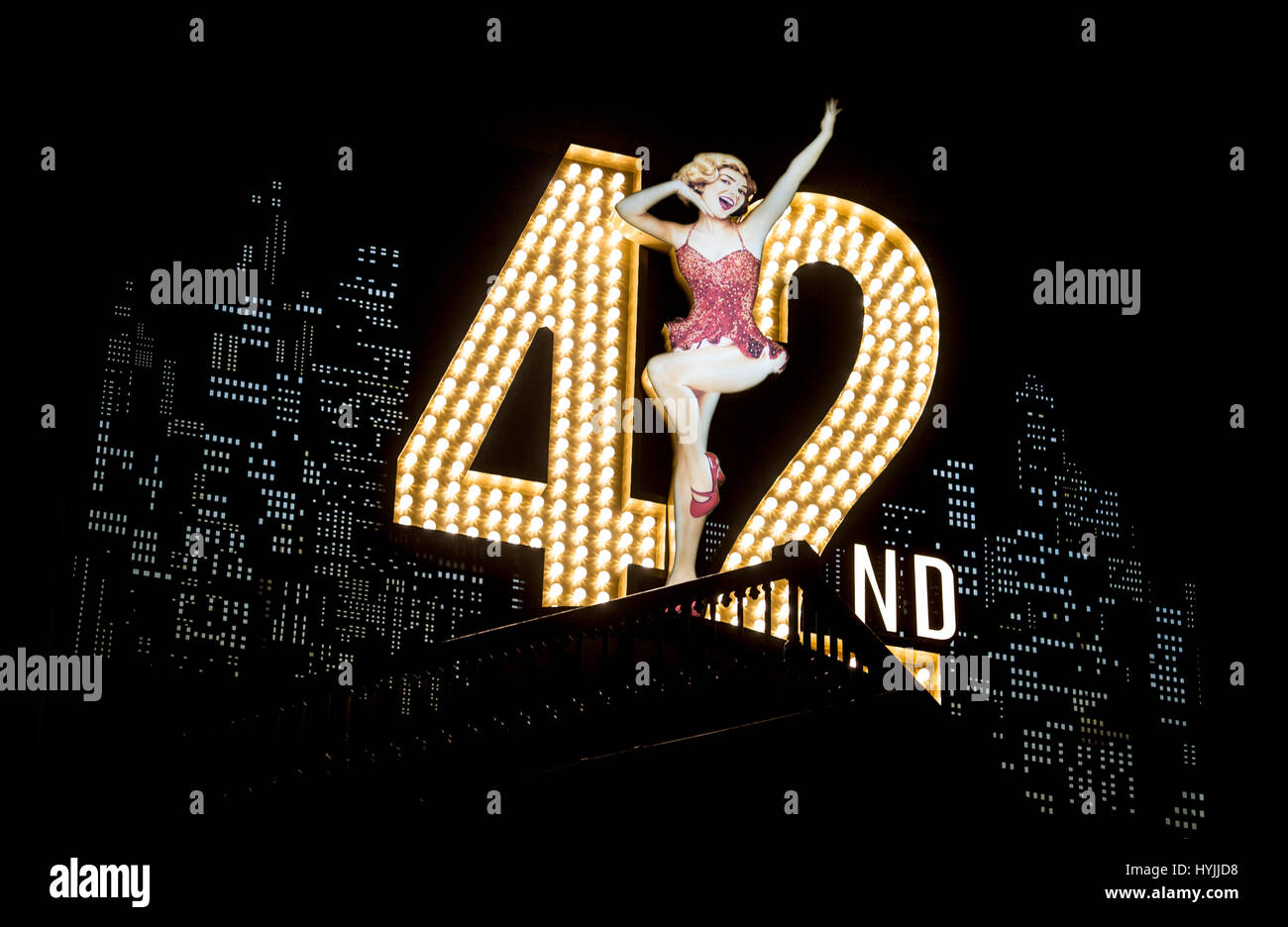 A sign for the musical 42nd Street at the Theatre Royal, Drury Lane, London. - Stock Image