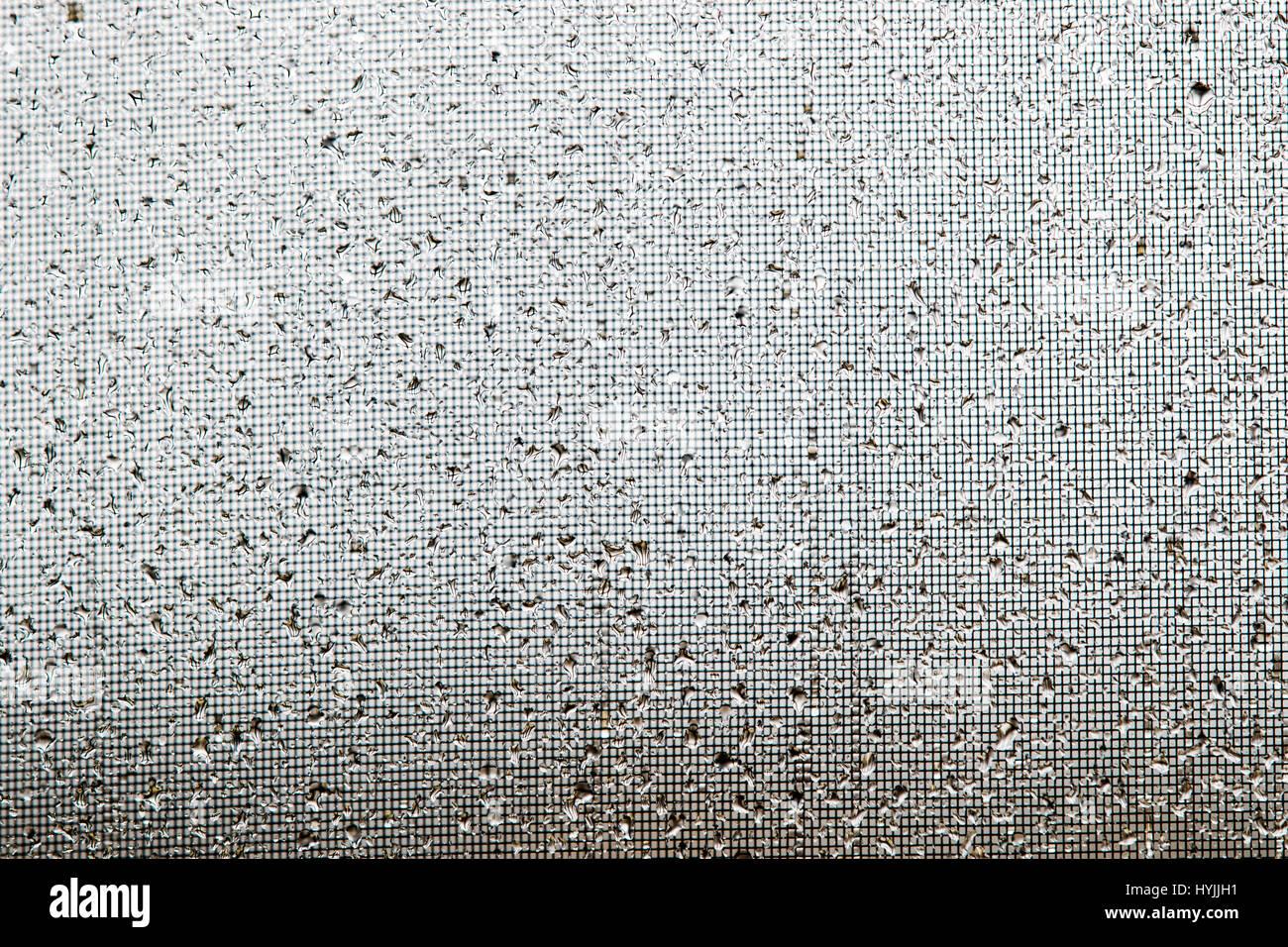 Close-ups of raindrops on a window glass & screen Stock Photo