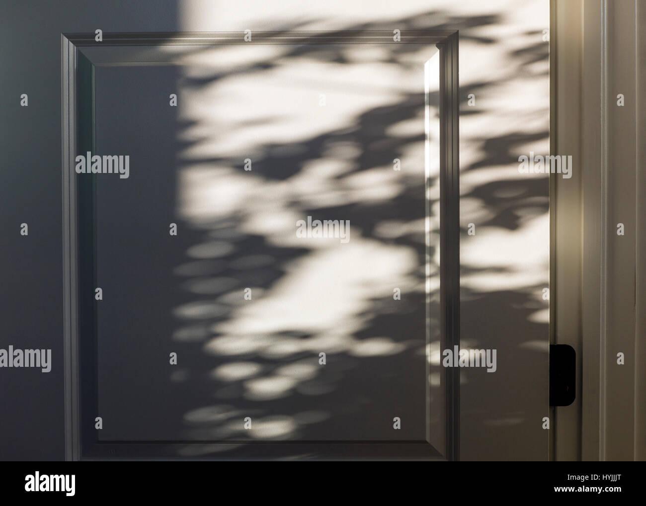 Dappled sunlight creates abstract shadows on white door - Stock Image