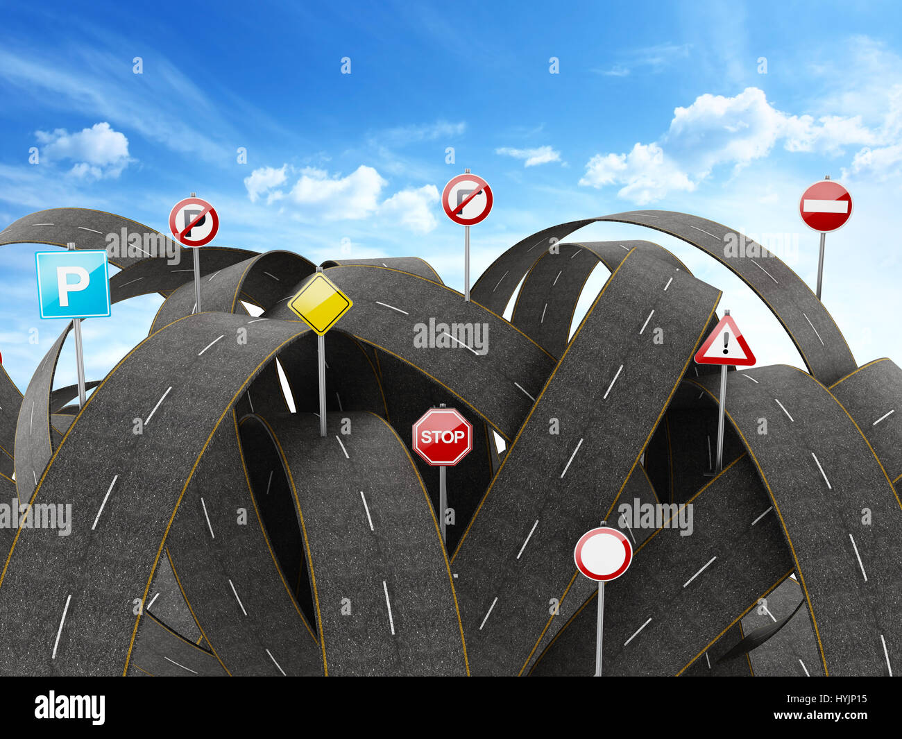 Tangled, crowded, chaotic roads and many traffic signs. 3D illustration - Stock Image