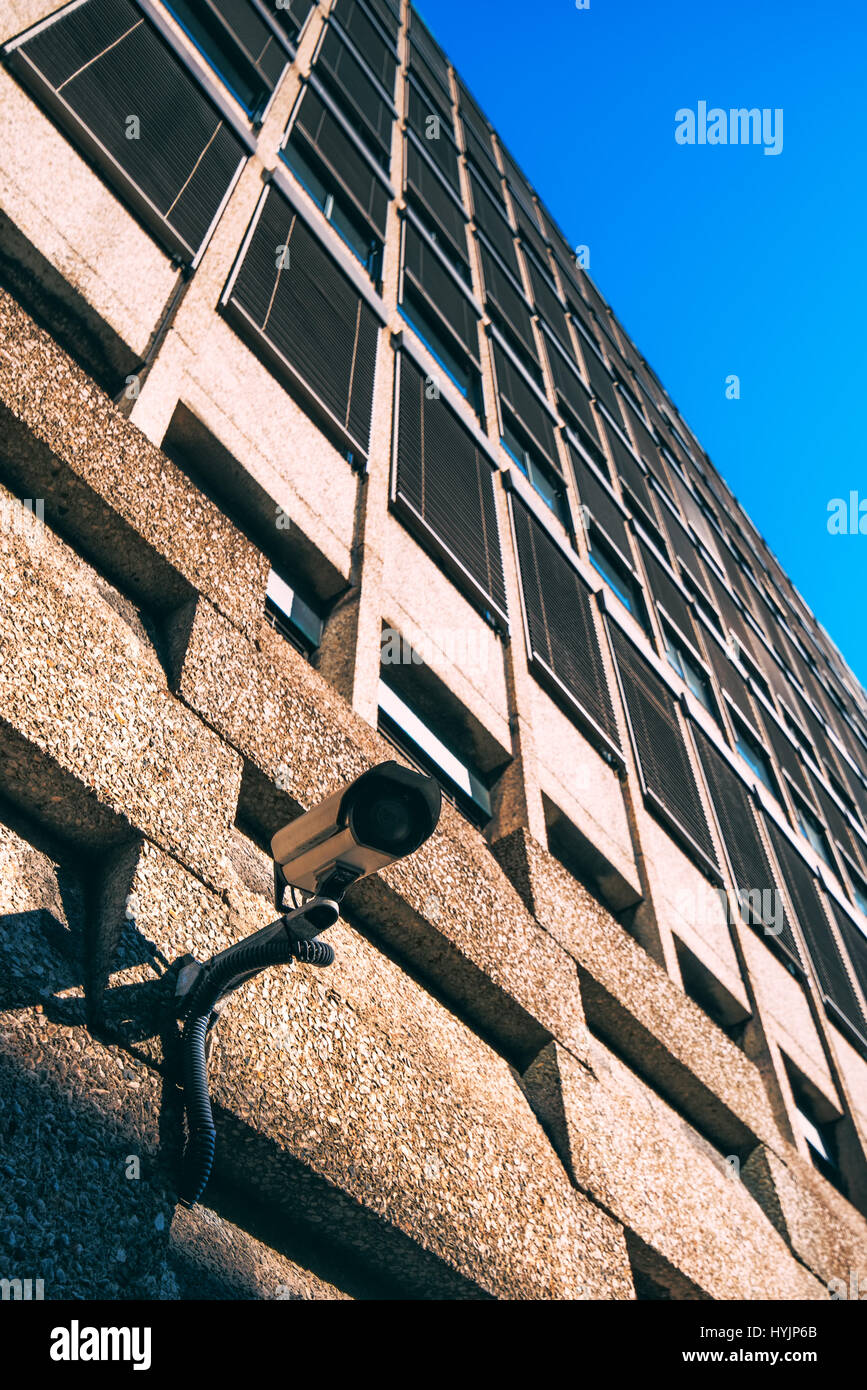 CCTV camera for surveillance on modern building facade, national security and government protection concept Stock Photo