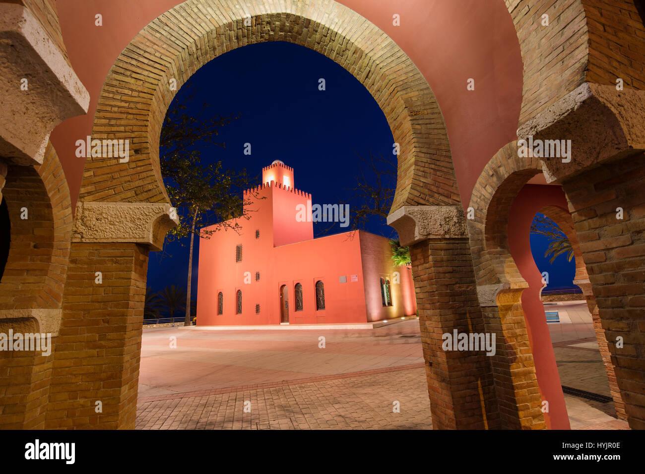 Bil-Bil castle built in neo-Arab style in 1934, Benalmadena. Malaga province Costa del Sol. Andalusia Southern Spain, - Stock Image
