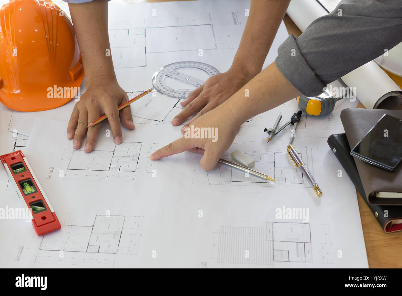 Architectural abstract drawing stock photos architectural abstract architect working on blueprint architects workplace architectural project blueprints ruler calculator malvernweather Images