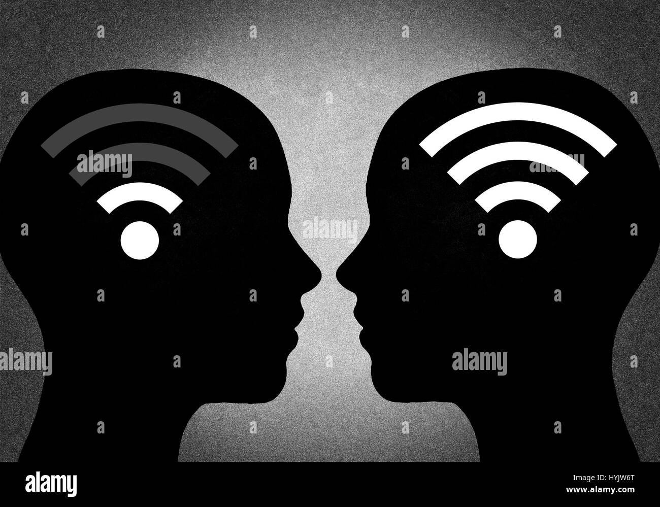 Silhouette of head with wifi signal - Stock Image