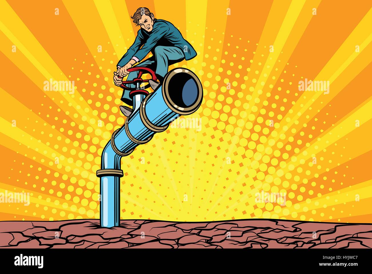 Water pipe during a drought, retro businessman on the tube - Stock Vector