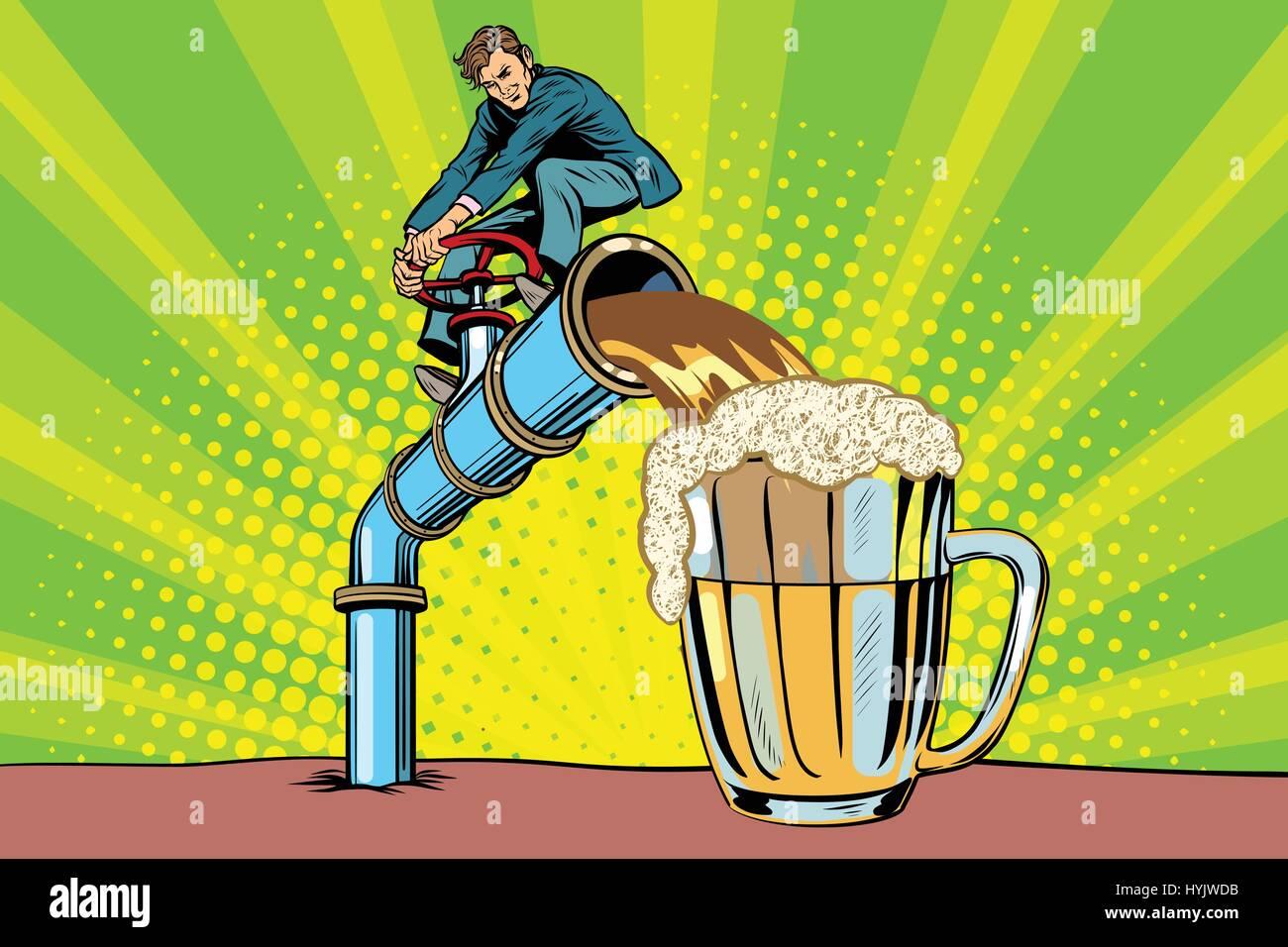 Man pours beer - Stock Vector