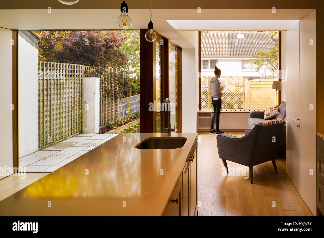 Interior view of living area showing counter and figure. Extension to House, Stillorgan, Dublin, Ireland. Architect: - Stock Image
