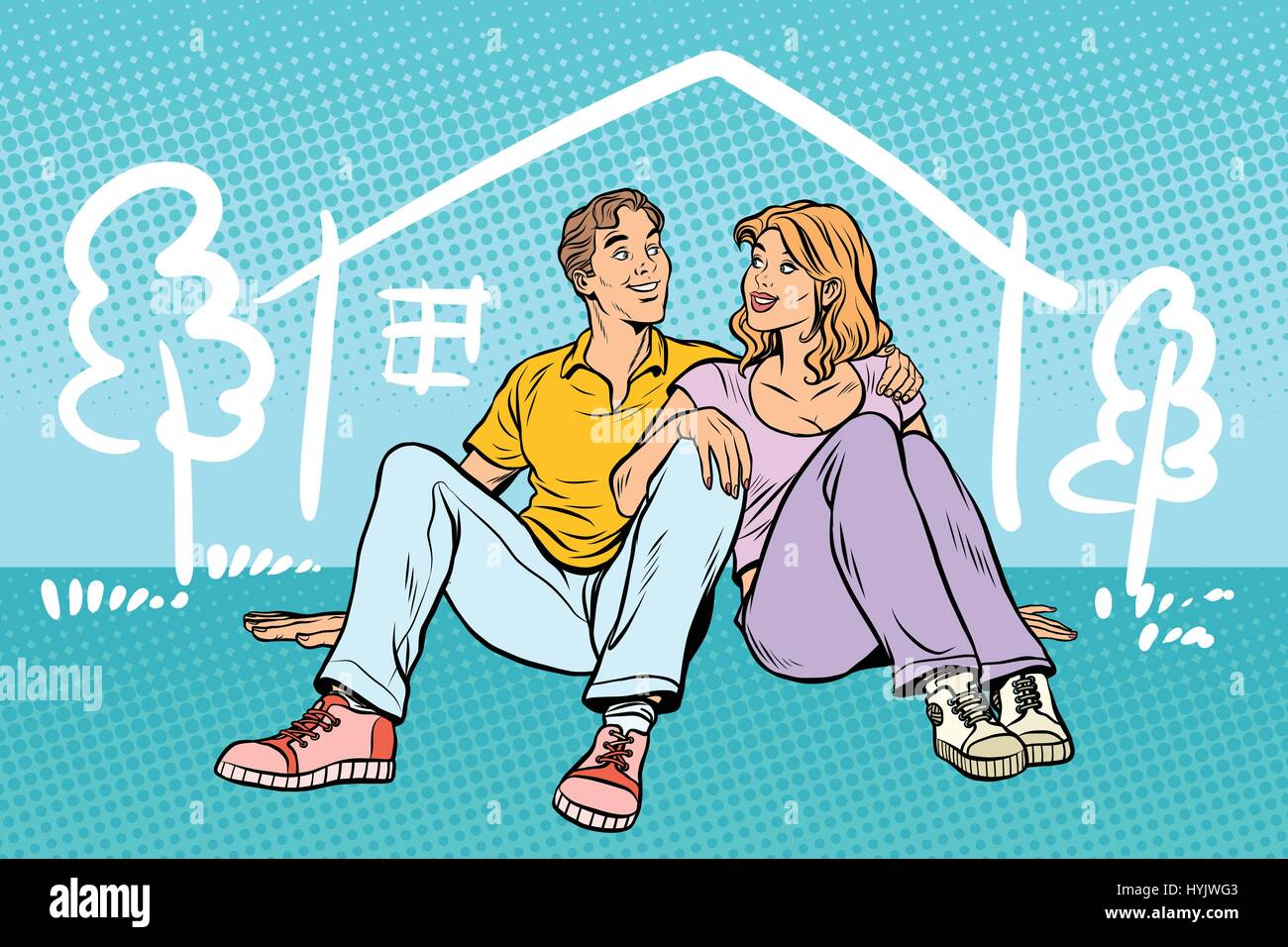 Young couple boy and girl dreams about the house - Stock Vector