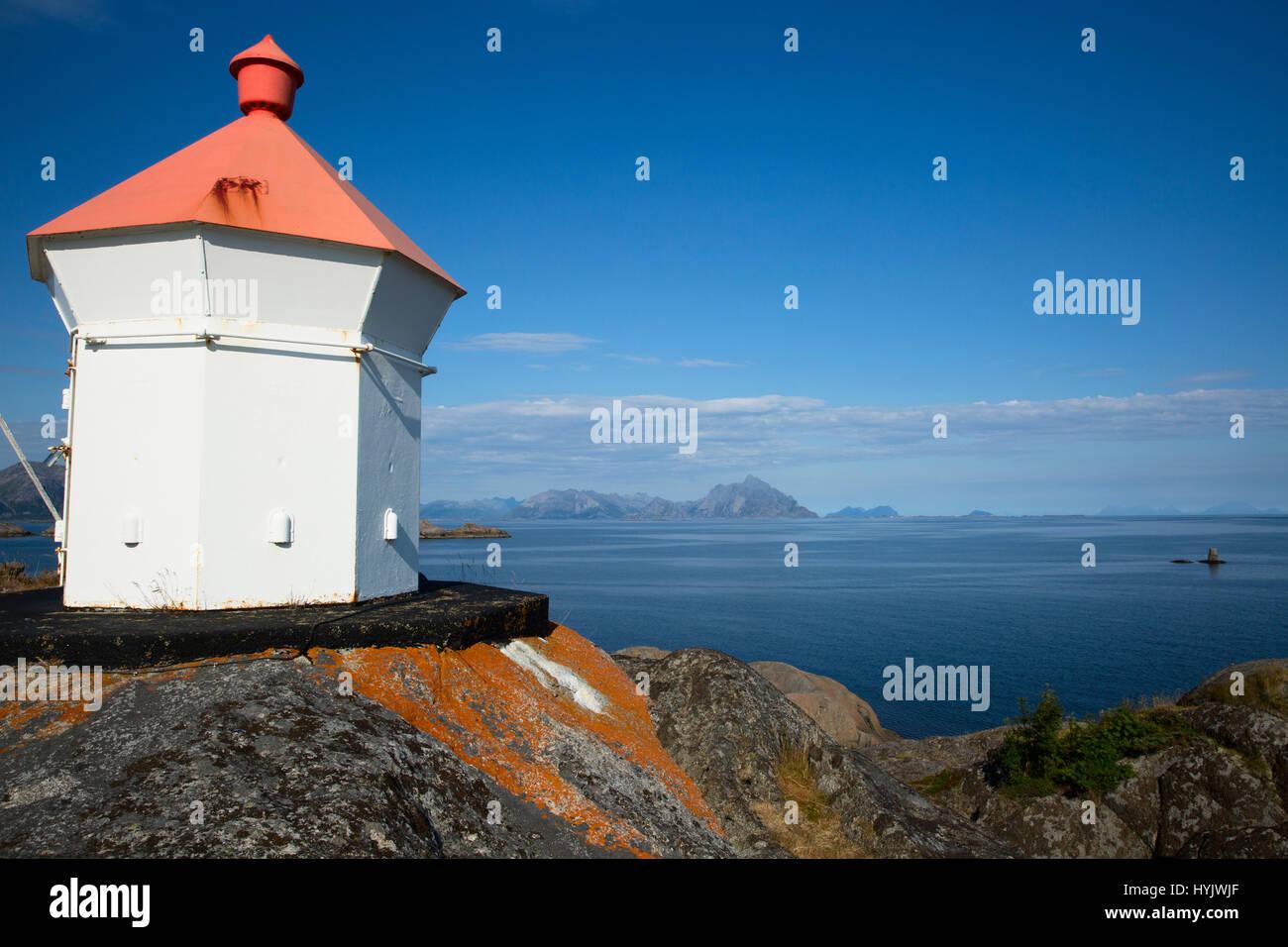 Europe,Norway,Lofoten,Vestvagoy,lighthouse - Stock Image