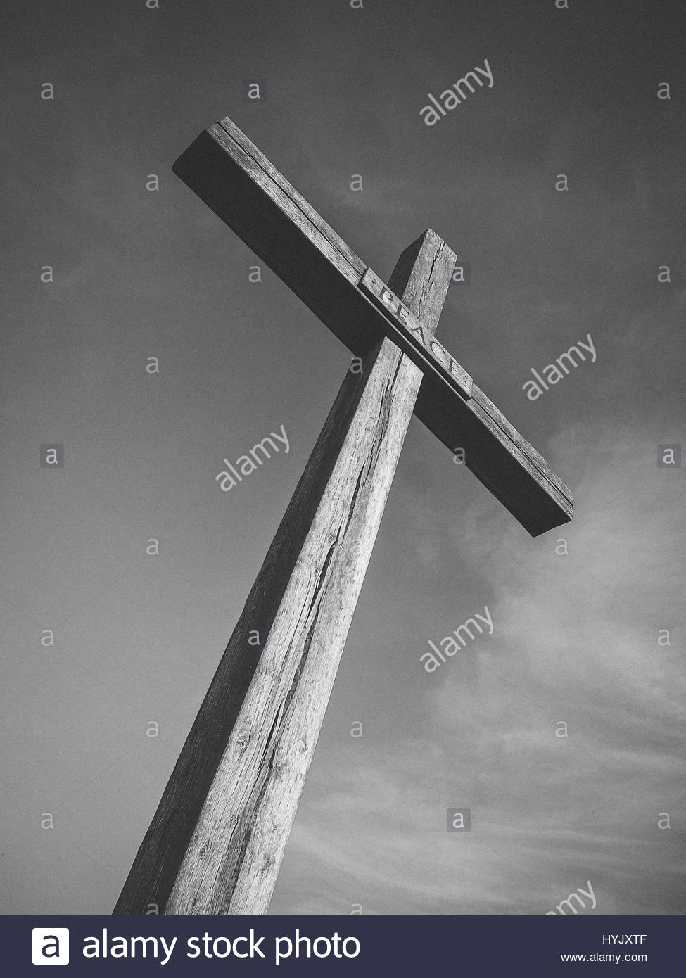 Large wooden cross - Stock Image