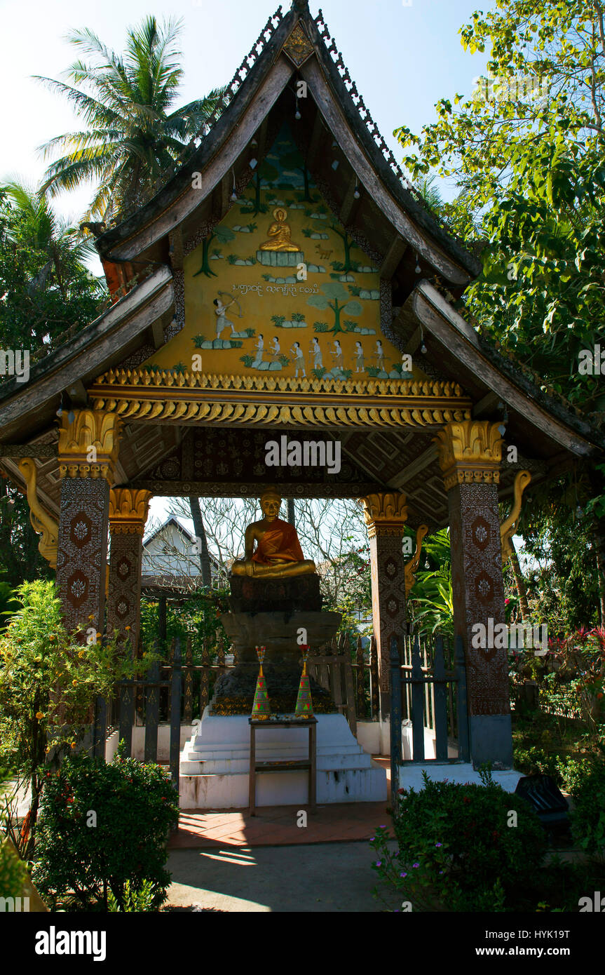 Pavilion of the Seated Buddha at Wat Xieng Thong, Luang Prabang - Stock Image
