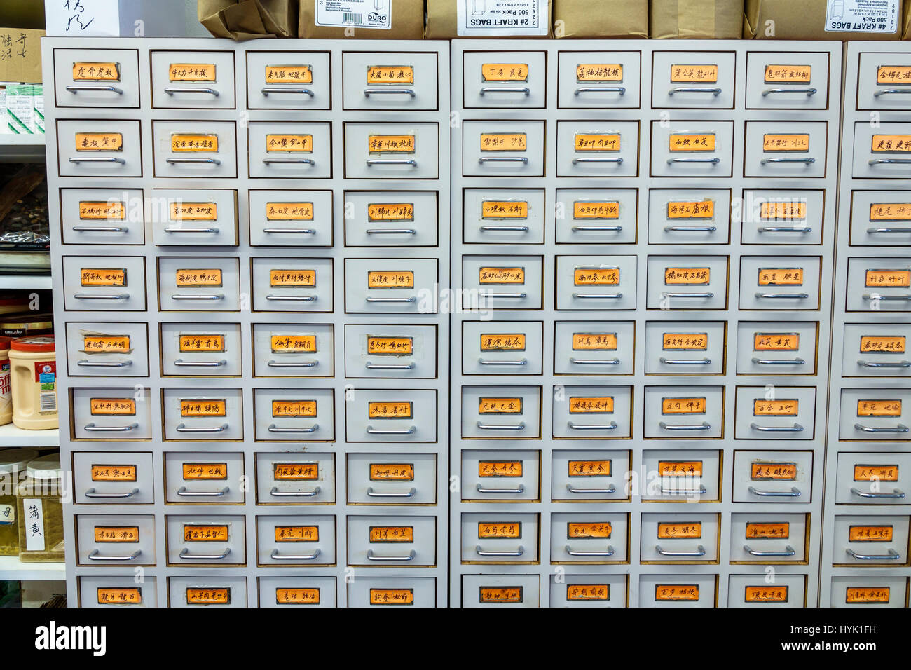 Orlando Chinatown Florida Health Food City health market Oriental alternative medicine pharmacy herb cabinet drawers - Stock Image