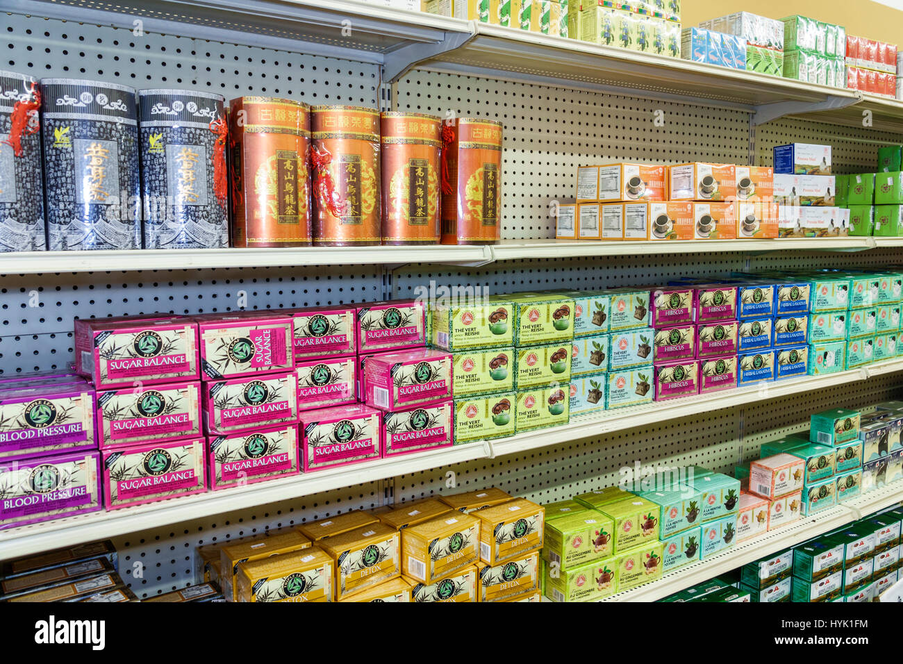 Orlando Chinatown Florida Health Food City health market Oriental alternative medicine pharmacy shelf retail display - Stock Image