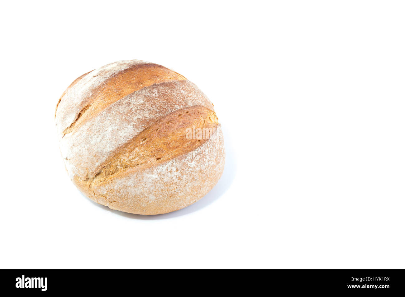Full Rustic Medieval Loaf Of Bread Homemade Baked Isolated On White Background