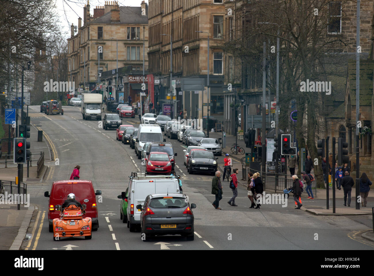 Great Western Road at Byres Road Glasgow Scotland street scene high viewpoint - Stock Image