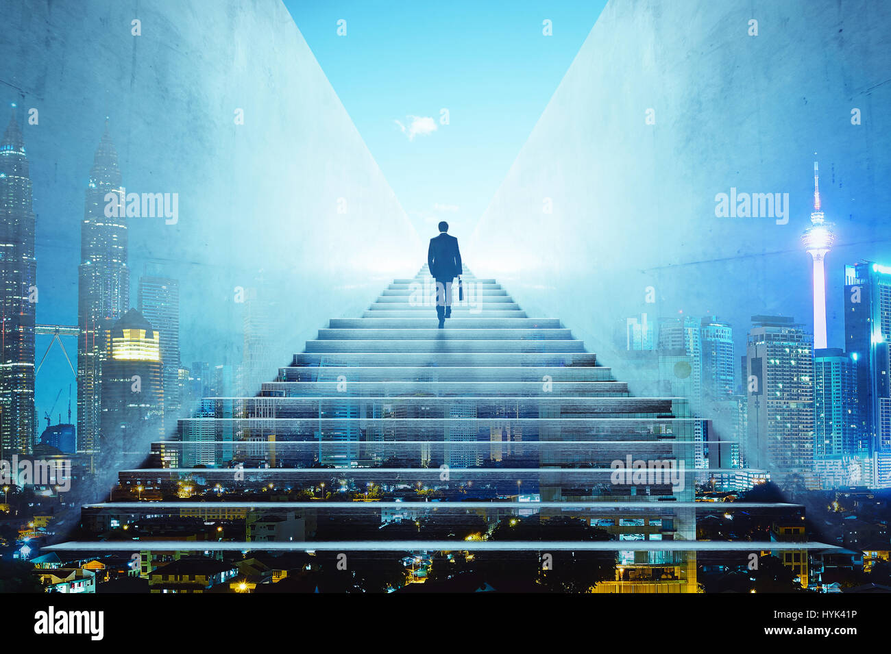 Rear view of a businessman climbing stairs to get to a large city center. Concept of success and appreciation. Double - Stock Image
