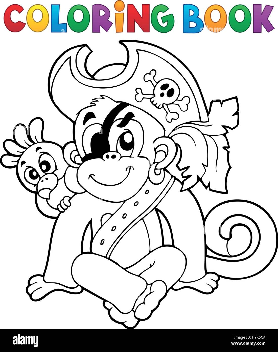 Coloring book pirate monkey image 1 - eps10 vector illustration ...