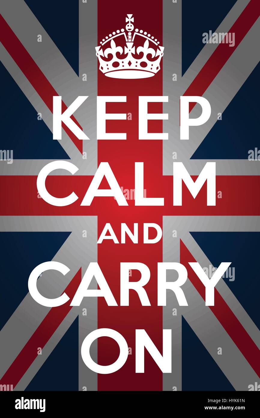 Keep calm and carry on poster with the Union jack in the background - Stock Vector