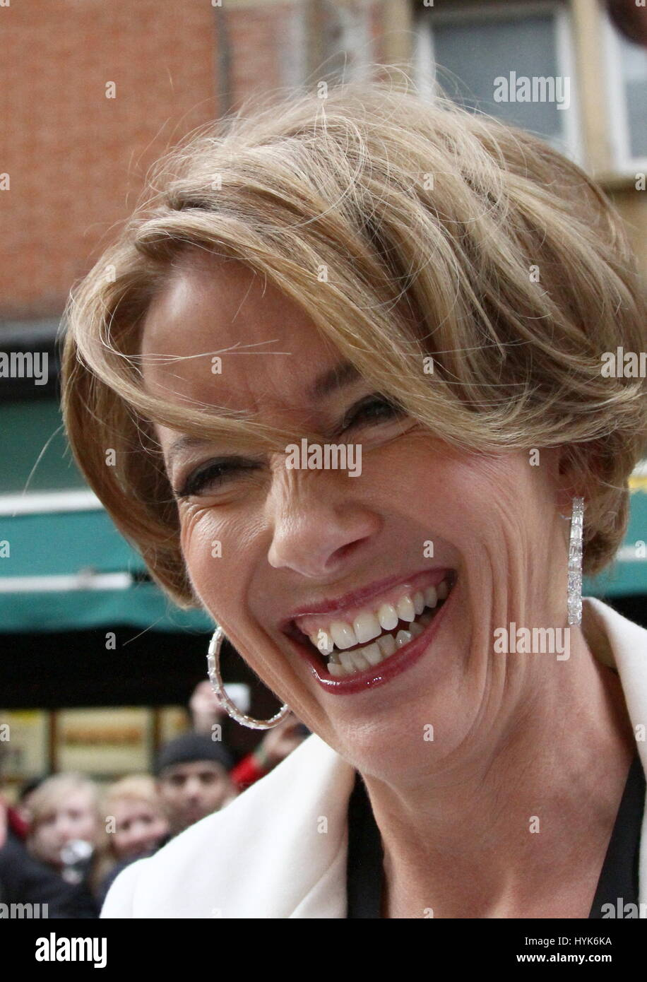 Actor EMMA THOMPSON smiling in Leicester Square London 2012 May 16th. - Stock Image
