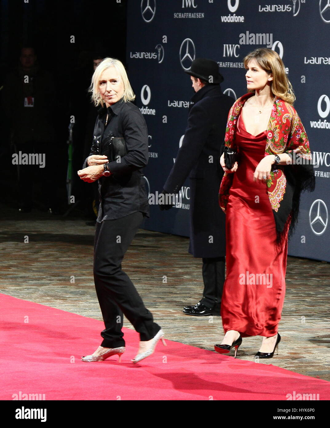 Martina Navratilova and Julia Lemigova arriving at a sports award evening in Westminster, London, UK. - Stock Image