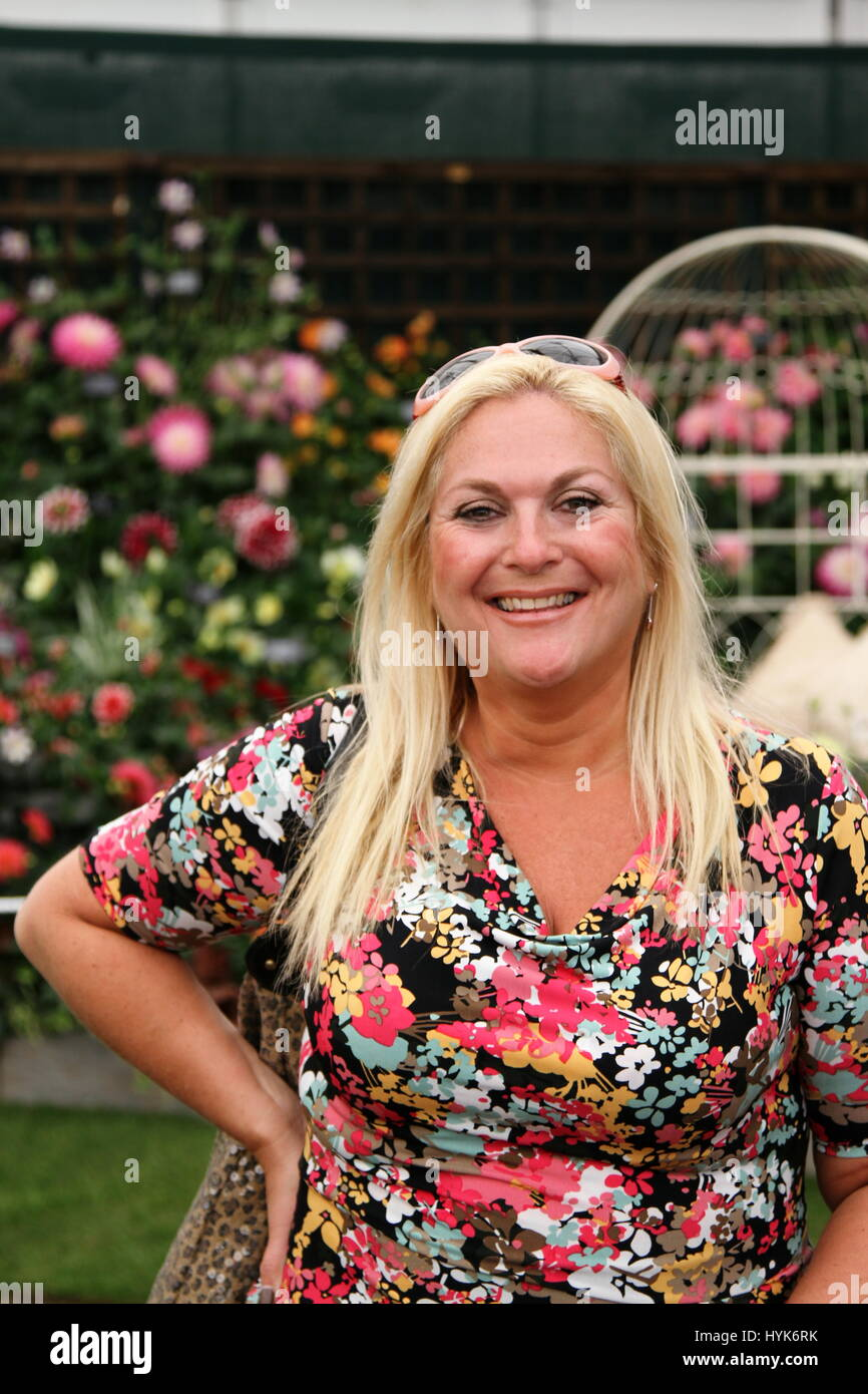 Vanessa Feltz broadcaster television and radio presenter pictured at the RHS Chelsea flower show. Stock Photo
