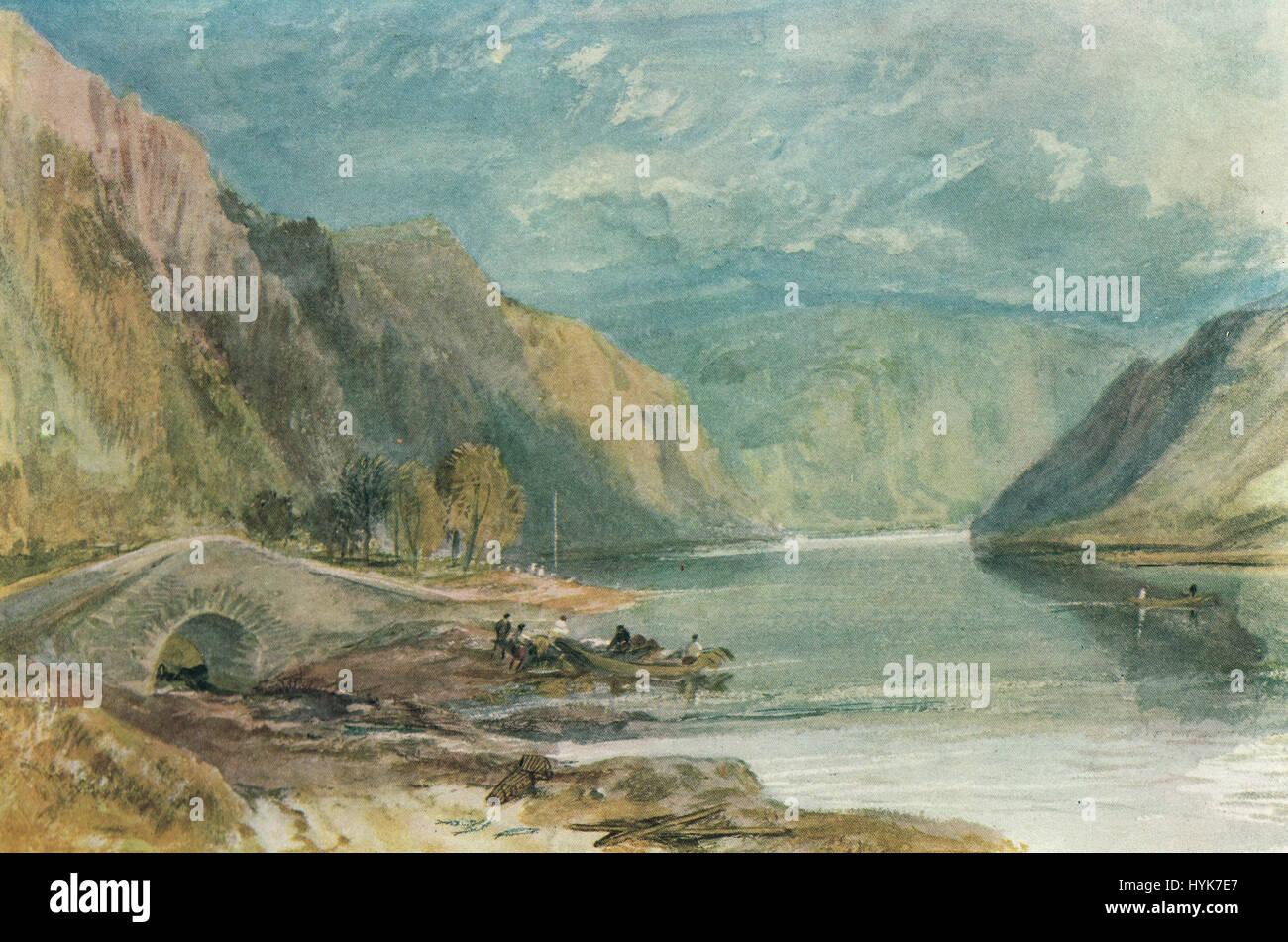 Hirzenach,The Rhine, Germany by J M W Turner 1817 - Stock Image