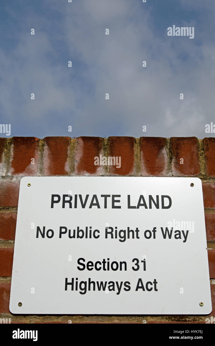 sign stating private land, no public right of way, section 31 highways act, in twickenham, middlesex, england - Stock Image