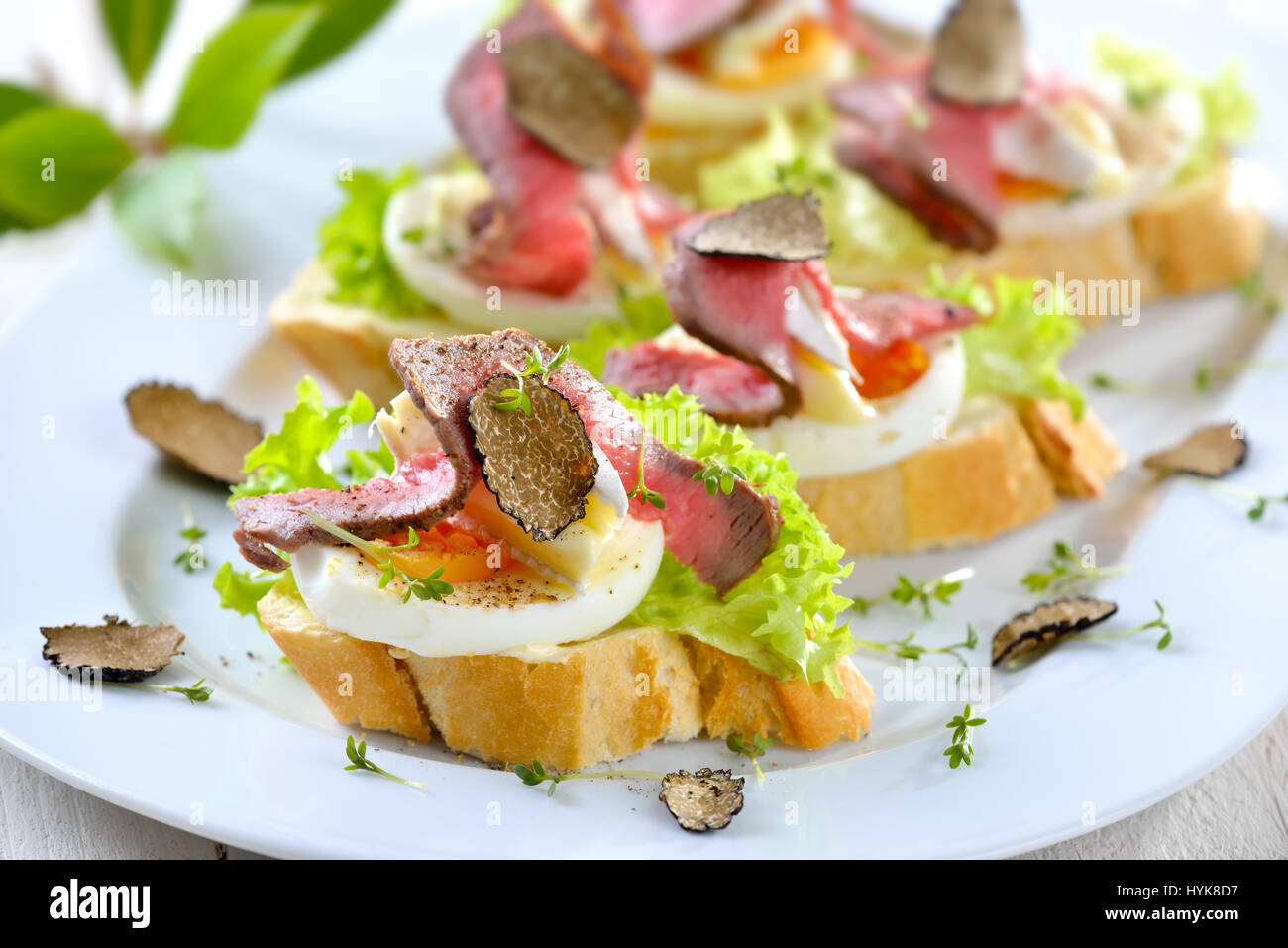 Canapes with roast beef ,  black autumn truffle,  French brie cheese on a slice of egg on baguette with a leaf of Stock Photo